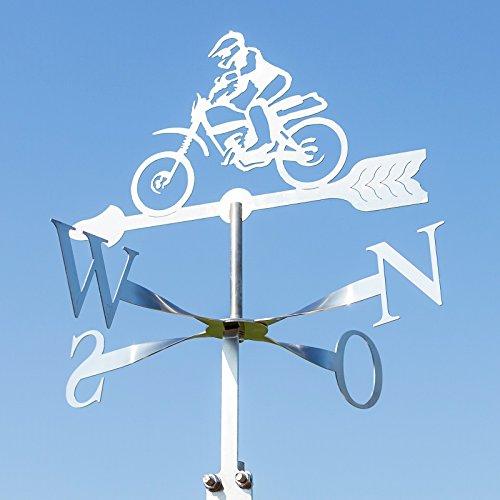 Wetterfahne Cross Motorrad aus Edelstahl - ideale Größe für Carport und Gartenhütte