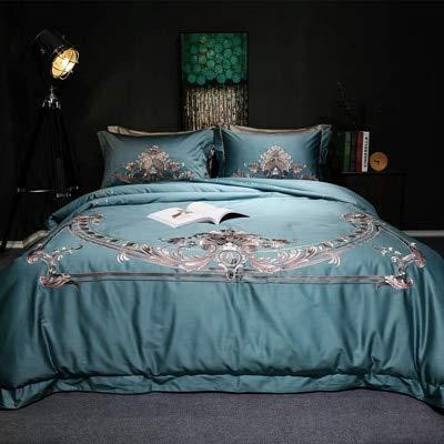 XMDNYE Weiß 120S Baumwollstickerei-Bettwäschesatz König-Königin-Hochzeits-Bett-Blatt-Abdeckungs-Gesetzte Bettbezug 4Pcs 6Pc Blau (Blatt Bett Königin Weiß)