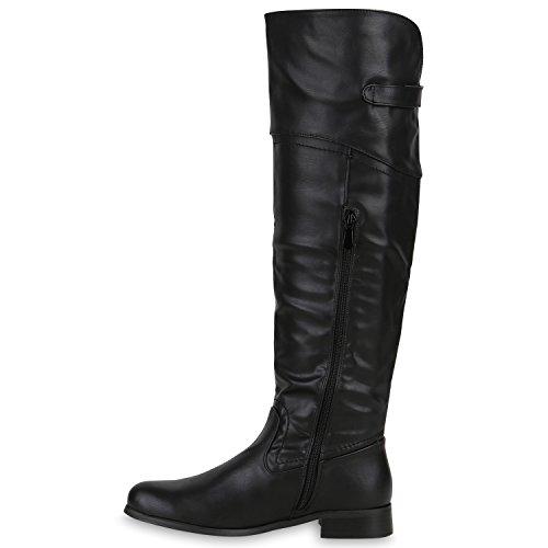 Schwarz Lederoptik Boots Langschaft Reiterstiefel Bequeme Stiefel Damen HwzqFRWYO