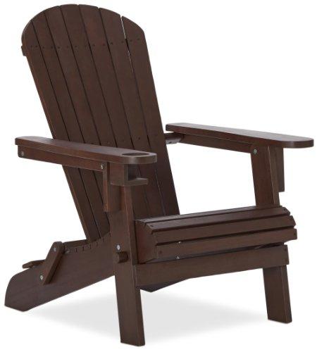 Strathwood Basics Adirondack Chaise de jardin avec porte-gobelet Marron foncé