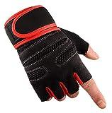 Blisfille Outdoor Sport Fitness Halbe Finger Reiten Handschuhe Lange Armband Radfahren Reiten Rutschfeste Abnutzung Gewichtheben Handschuhe Red Size Medium