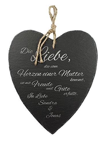 Casa Vivente Schieferherz mit Gravur – Mutter Liebe – Schöne Wanddeko als Muttertagsgeschenk – Geschenkideen für Mütter – mit Jute-Band Zum Aufhängen – Parent