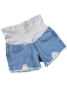 Shorts in denim maternità cintura regolabile buco rotto moda donne incinte