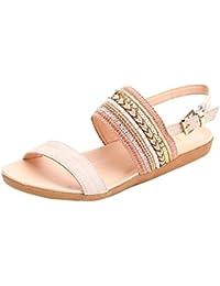 Sandalias mujer, Manadlian Mujer Sandalias planas Zapatillas de Bohemia Chancletas Dedo del pie playa Gladiador Zapatos de tobillo (CN:40, Rosa)