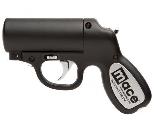 Spray Mace Gun (Mace Pepper-Gun / Pfefferspray-Pistole / Reizstoff-Pistole mit Strobe LED-Blitzlicht - In Schwarz - Nachfüllbar - Made in USA)
