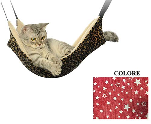 Ducomi sleepat - amaca gatto con morbido e caldo rivestimento - 53 x 35 cm - portata massima 12 kg - per gatti e piccoli roditori - facile installazione con 4 ganci (stars)