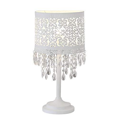 Tischlampe MARRAKECH weiß aus Metall mit orientalischem Muster und Kristallen