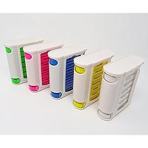 SBS 7 Tage Pillendose Farbe blau, grün, pink, gelb oder weiß wählbar Pillenbox Tablettendose Tablettenbox Wochendosierer