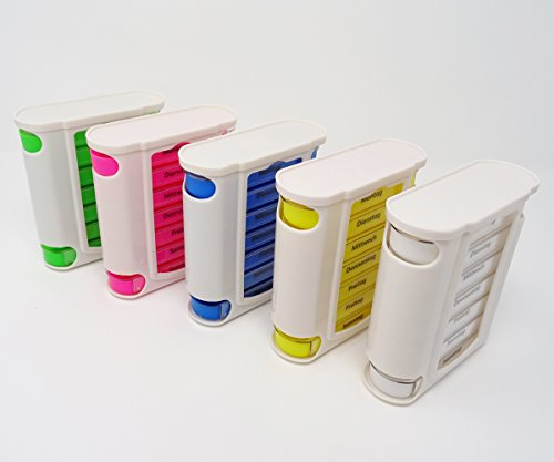 SBS 7 Tage Pillendose Fächer Blau Pillenbox Tablettendose Tablettenbox Wochendosierer Medikamentendose