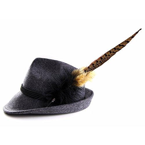ALMBOCK Trachtenhut Damen mit Feder | Trachtenhüte in vielen Farben und den Größen S M L | Trachten Hut hergestellt aus Woll-Filz (S (54cm), Anthrazit | Modell H7)