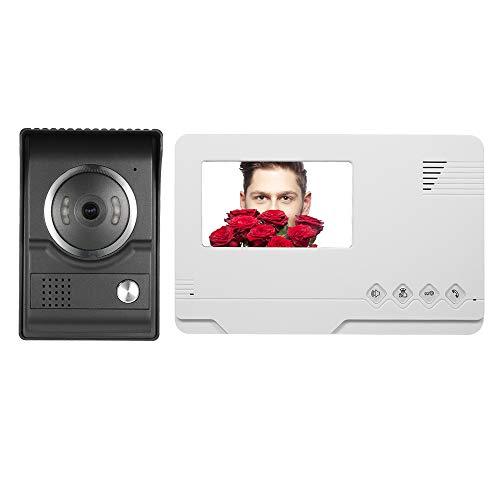 Festnight Wired Video Türsprechanlage Gegensprechanlage, TFT 4.3 Zoll Farbbildschirm Wasserdicht Nachtsicht Remote Entsperrung -