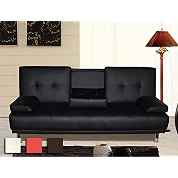new u0027sleep designu0027 manhattan modern faux leather sofa bed with drinks table u0026 cushions available in black