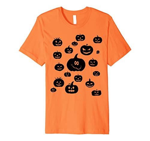 (Halloween schwarz verschiedene Kürbisse auf der Orange T-Shirt)