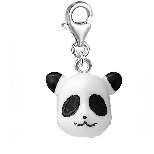Sexy paillettes Femme en résine et clip sur le fermoir Charm pour bracelet panda head clip on