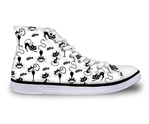 i Tops Plimsolls Women Girls Canvas Sneakers Flat Designs Halloween White+Multi cat UK 4 ()