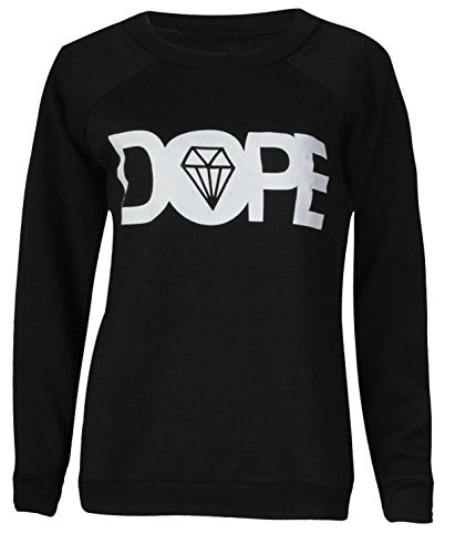 Unknown - Sweat-shirt - Tunique - Slogan - Col Rond - Femme Black Dope Print