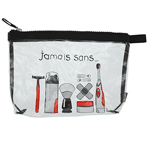 Incidence Paris 61906 Trousse de toilette Krystal Jamais sans Homme Transparent et noir PVC et nylon Fermeture zip