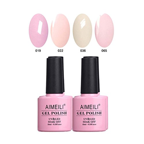 AIMEILI UV LED Gellack mehrfarbig ablösbarer Gel Nagellack Pastell Gel Nail Polish Set Kit - 4 x 10ml - Set Nummer 17 -