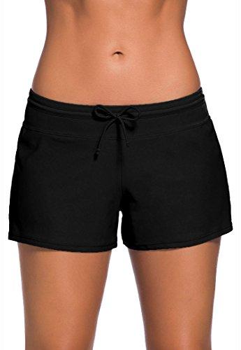Leslady Damen Wassersport Bikinihose Badeshorts UV-Schutz Schwimmen Badehose Bikinihose Badeshorts Schwimmshorts- Gr. (EU 38-40) Size L, Schwarz(fba)