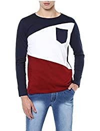 Urbano Fashion Men's Navy Blue, White, Maroon Round Neck Full Sleeve T-Shirt