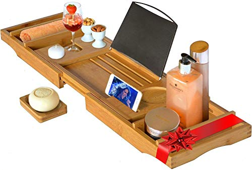 Luxus-Badewannenablage, Badewannenauflage mit Sekthalter, Badewannentablett mit Buchstütze aus hellem Bambus XL (max. 105cm x 22cm)