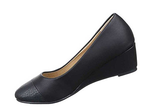 Damen Pumps Schuhe Abendschuhe Business Club Keil Wedges Schwarz Schwarz EJwud