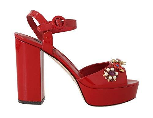 Dolce & Gabbana - Damen Sandalen - Red Leather Crystal Floral Sandal - EU 39