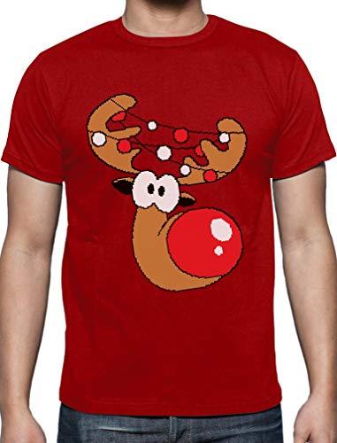 Lustiges Geschenk Rudolph Lichterkette T-Shirt XXXX-Large Rot
