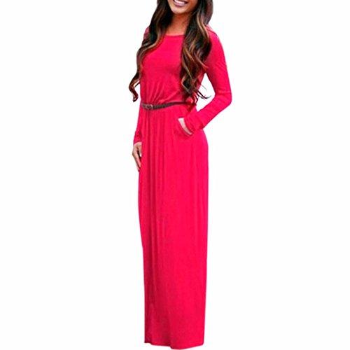 QIYUN.Z Maxi Vestito Tasca Casuale Manica Lunga Colore Solido Donne Tunica Sexy Con Cintura Rosso