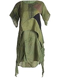 Vishes - Alternative Bekleidung - Doppellagige Zipfeltunika aus unterschiedlichen Stoffresten