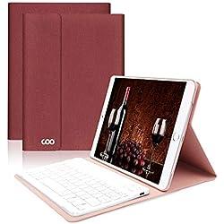 Clavier Bluetooth iPad Coque 9.7,AZERTY français, Housse Clavier pour iPad 2018/2017, iPad Pro 9.7, iPad Air 2/1, Clavier Bluetooth sans Fil Slim Etui Smart Réveil/Sommeil Automatique (Rouge vin)