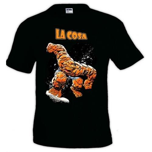 "Camiseta Los cuatro Fantasticos ""La Cosa"" manga corta negra (Talla: TallaXS Unisex Ancho/Largo [49cm/62cm] Aprox])"