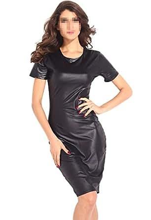 Antemi - Femmes - Robe midi de soirée sexy imitation cuir - Noir - Taille M
