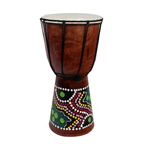 Noradtjcca 4 Pollici Tamburo a Mano Djembe percussione Tamburo Mogano in Legno Jambe Doumbek Batterista con Motivo Pelle di Capra Pura Superf