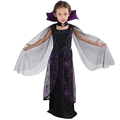 Vampir Kostüm Queen Kinder - hhalibaba Lila Spinne Vampir Cosplay Mädchen Halloween Kostüm für Kinder Lace Cape langes Kleid Karneval Party Queen Kragen