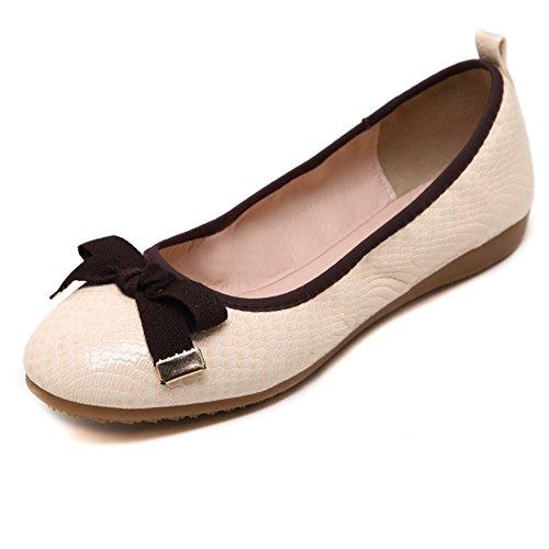 Damen Snakeskin Muster Omelett Schuhe Sommer Rund Zehen Flache Schuhe Aprikose
