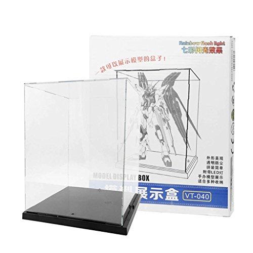 Longsw Vitrine Klare Acryl Display Box Mit Bunten Licht Staubdicht Action-Figur-Showcase (Mit Licht Figur-vitrine)