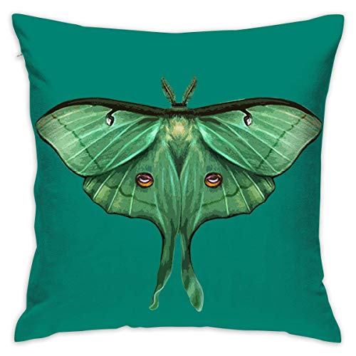 FPDecor Funda de Almohada, Moon Moth Square Cushion Cover for Chair 18 X 18 Inches