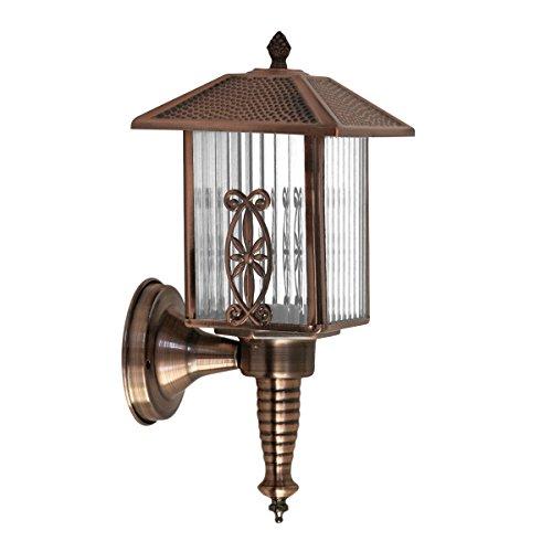 Lámpara de pared clásica de la vendimia al aire libre Lámpara de jardín de la vendimia, lámpara de pared de cristal transparente de lujo,lámpara de pared de la seguridad de la noche para la cubierta, patio, hogar, escalera, patio, jardín, entrada