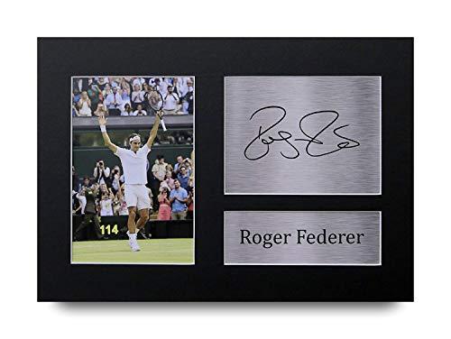 HWC Trading Roger Federer A4 Senza Cornice Firmato Regalo Visualizzazione delle Foto Print Immagine Autografo Stampato per Gli Appassionati di Tennis