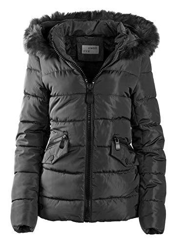 S\'West Gesteppte Damen Winter WARME Jacke Mantel Kapuze MIT Fell ABNEHMBAR, Farbe:Schwarz, Größe:XL