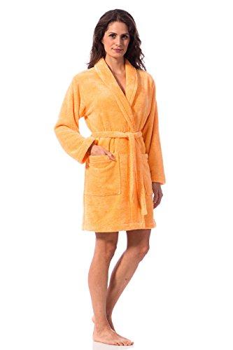 Morgenstern, Kurz Damen Bademantel mit Schalkragen aus Microfaser, Größe XS, Farbe gelb (dunkelgelb), ca. 90 ca. lang