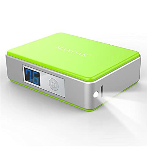 MAXOAK Mini 5200mAh Batterie Backup Pack Batterie Externe portable charger avec Lampe LED de poche pour Iphone 6 Plus 5s 5c 5 4s Samsung Galaxy S3 S4 S5 S6 Nota Tab Comprimés etc - VERT
