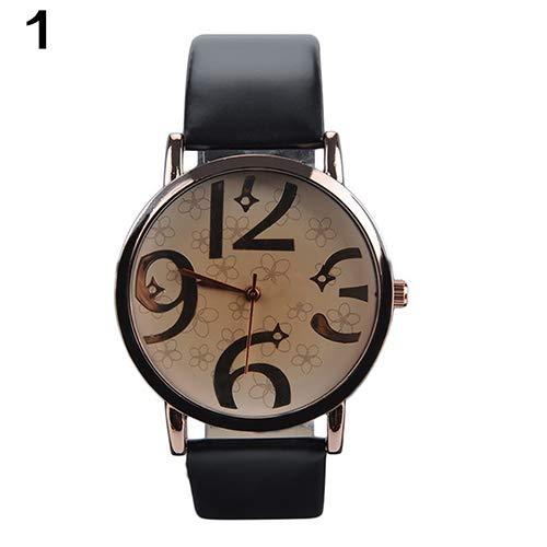 Huhuswwbin orologio sportivo orologio da polso al quarzo con cinturino in pelle simil-analogica analogica grande moda unisex - nero