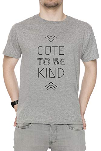 Cute To Be Kind Hombre Camiseta Cuello Redondo Gris Manga Corta Tamaño S Men's Grey T-Shirt Small Size S