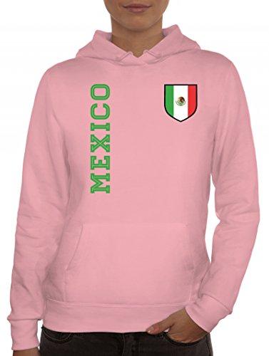 Mexiko Fußball WM Fanshirt Gruppen Damen Hoodie Frauen Kapuzenpullover Fan Trikot Mexico, Größe: XXL,rosa