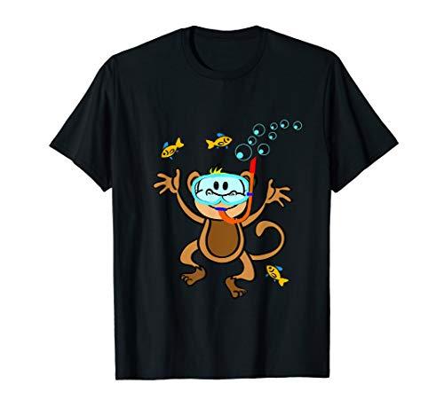 Lustiges tauchendes Äffchen Affe mit Fischen Shirt