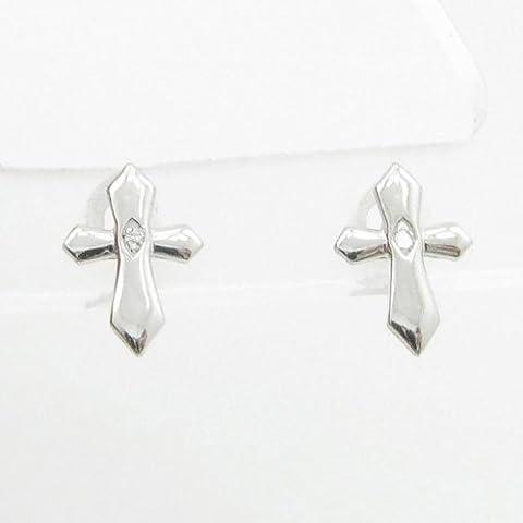 charm-pendants Womens BP60Orecchini a perno italiana, Oro bianco 14K cerchio