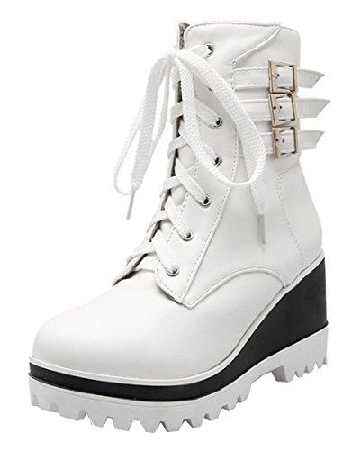 Schnür 6cm Damen Ye Stiefeltten Mit Und Schnallen Wedges Sohle Weiße Weiß Boots Keilabsatz Plateau Ankle xaUUwtqHz