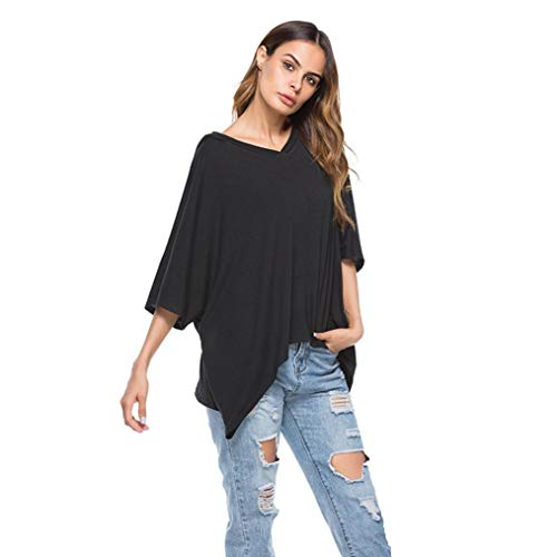 MCYs Damen Mode Halbe Hülse V-Ausschnitt Pullover Hoodie Sweatshirt Casual Slim Tops Kapuzen-Bluse Schwarz (L, Schwarz)